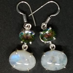 Mystic Topaz & Moonstone Silver Drop Earrings
